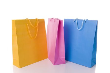 Colorful shopping bgs iolated nwhite photo