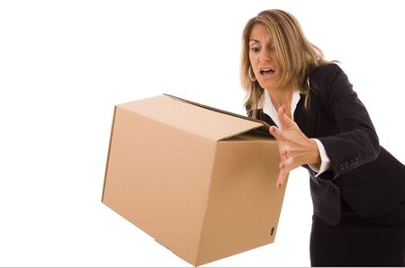 Business woman let falling a cardboard box  Stock Photo - 5596959