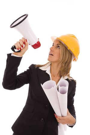 An architect giving orders with a megaphone photo