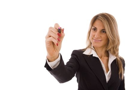 Business women writing something with a pink marker Stock Photo - 5639759