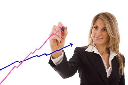 feministische: Mooie zakenvrouwen waaruit de vrouwen succes versus mannen. Stockfoto