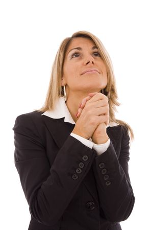 imploring: Business women with her hands crossed imploring something