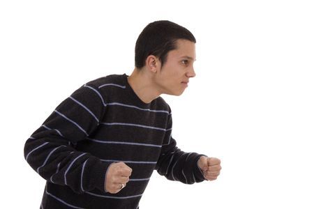 Furious young man isolated on a white background photo