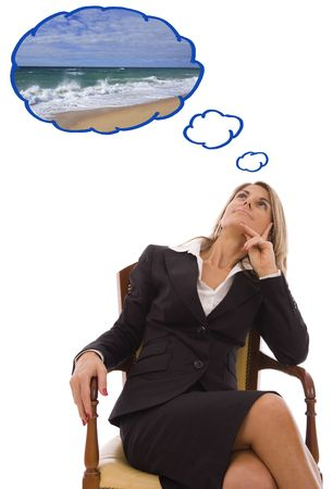 Beautiful young woman looking up dreaming about vacations Stock Photo