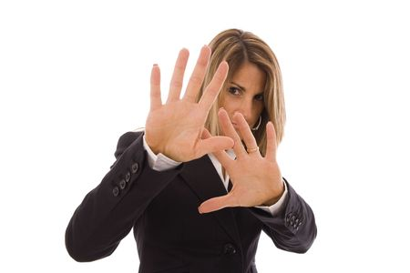 scared girl: Business woman hiding her face with the hands Stock Photo