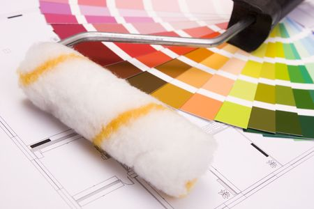 Color samples for selection and a a painter�s roll with house plan on background Stock Photo - 6628018