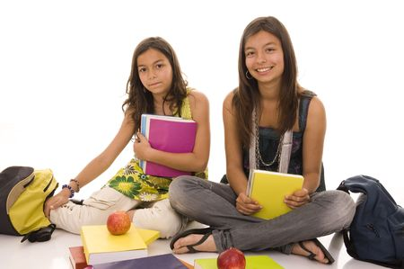 Two young girls doing school homework isolated on white Stock Photo - 6747366