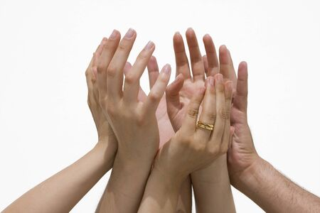 sucess: Many female and male hands symbolizing the union  cooperation sucess... Stock Photo