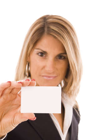 Beautiful woman showing her business card photo