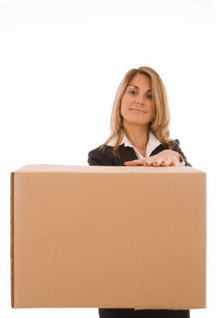 Blond young woman holding a cardboard box (with space for text) photo