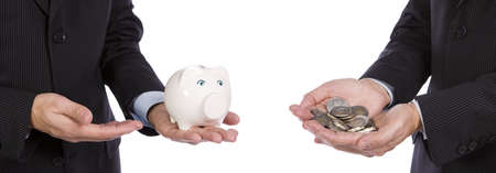 Saving concept - Two Business men showing their savings photo