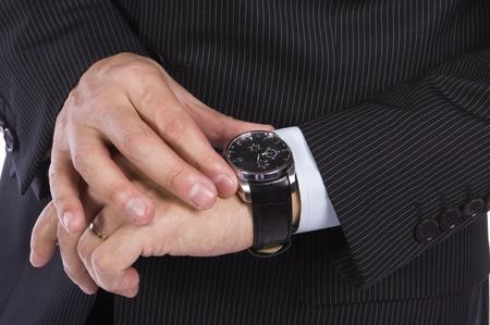 relógio: Empresário verificar o tempo em seu relógio