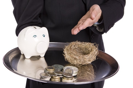 Saving Concept - Business man showing differente ways to saving money photo