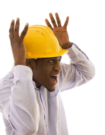 Young Black worker with a fear expression photo