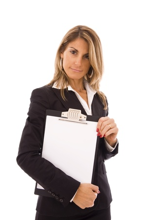 businesswoman holding a clipboard with space for text photo