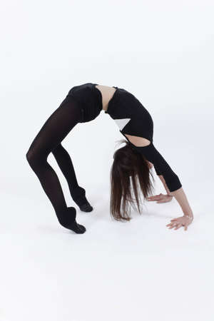 Young gymnast in studio Stock Photo
