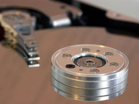 details of a computers internal hard drive Stock Photo