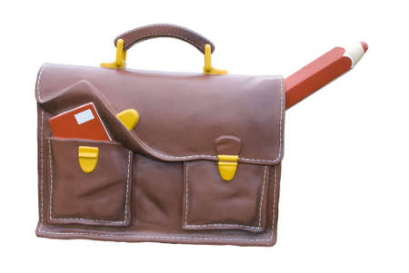 satchel: A model of a schoolbag in front of a school in France Stock Photo