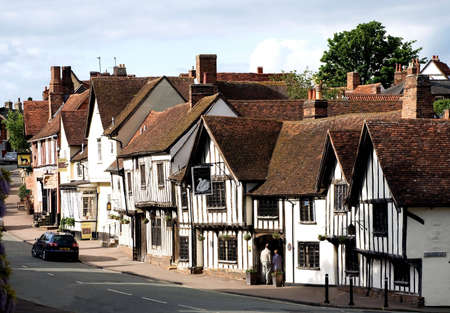 tudor: The Main Street in Lavenham Suffolk England UK on a quiet summers afternoon Stock Photo