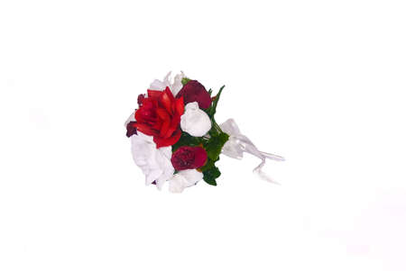 Silk flowers for a wedding, shown on a white background photo