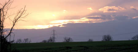 clowds: Sunset over the power lines, across the fields