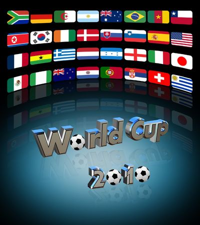 3D video wall with the flag of the countries participating in  world cup photo