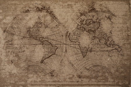 Old world map with great texture and amazing colors  photo