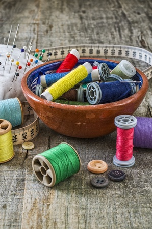 sewing supplies: Sewing supplies with great light and colors Stock Photo