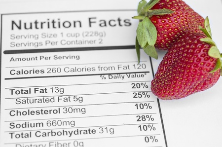 Strawberries with nutrition facts Stock Photo