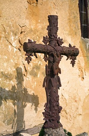 piety: Cross in Sauboires Churchyard in SW France