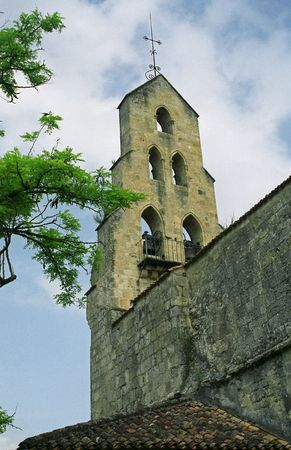 gascony: The Bell Tower of Lannes Church in SW France
