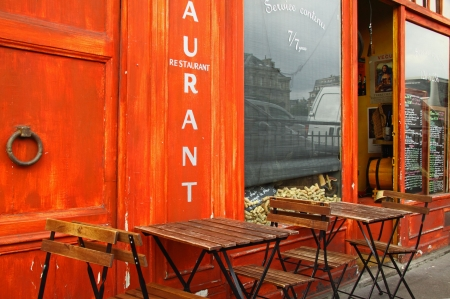 Quayside restaurant on the left bank of the Seine in Paris photo