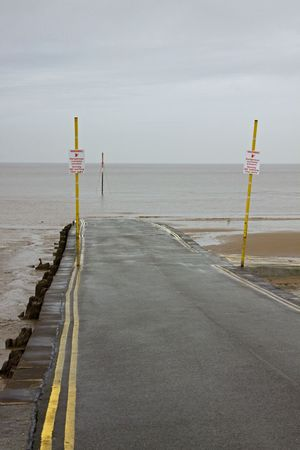 burnham: Slipway Down to the Bristol Channel at Burnham on Sea UK Stock Photo