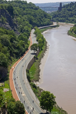 "Bristol, England - June 20, 2010 - No motorized traffic was allowed on the normally busy A4 through the Avon Gorge. Cyclists were participating in a ""Biggest Bike Ride"" event as part of  the UK's National Bike Week.  Stock Photo - 8226089"