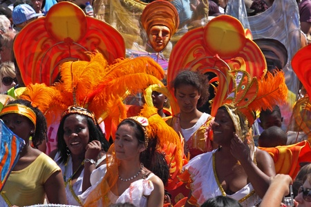 """Bristol, England - July 3, 2010 - Participants in the annual St Pauls """"Afrikan-Caribbean"""" carnival. A record 70,000 people attended the 42nd running of the community event"""