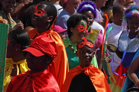 """exuberance: Bristol, England - July 3, 2010 - Young participants in the annual St Pauls """"Afrikan-Caribbean"""" carnival. A record 70,000 people attended the 42nd running of the community event"""