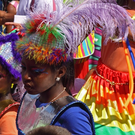 """Bristol, England - July 3, 2010 - Young participant in the annual St Pauls """"Afrikan-Caribbean"""" carnival. A record 70,000 people attended the 42nd running of the community event"""