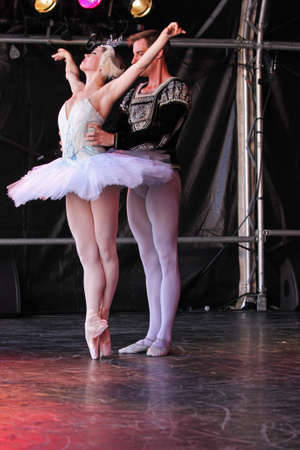 Bristol, England - August 1, 2010 - Members of the New York City Ballet perform Swan Lake at the three day Bristol Harbour Festival