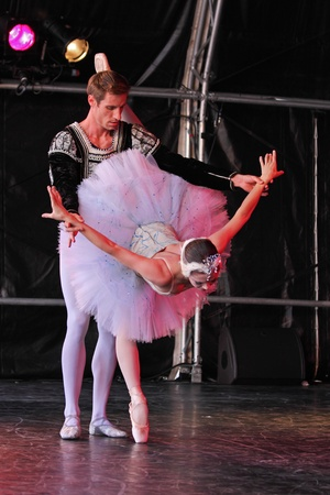 Bristol, England - August 1, 2010 - Members of the New York City Ballet perform Swan Lake at the three day Bristol Harbour Festival Stock Photo - 8636098
