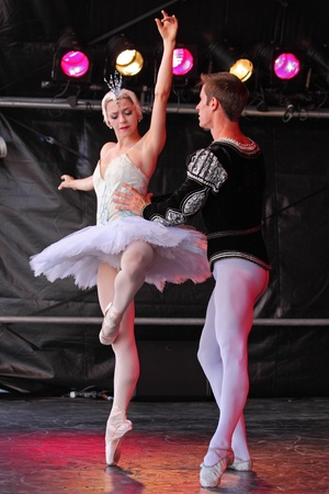 Bristol, England - August 1, 2010 - Members of the New York City Ballet perform Swan Lake at the three day Bristol Harbour Festival Stock Photo - 8636101