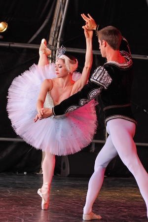Bristol, England - August 1, 2010 - Members of the New York City Ballet perform Swan Lake at the three day Bristol Harbour Festival Stock Photo - 8636100
