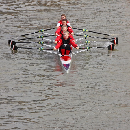 Bristol,UK - February 20, 2011 : Women crew in the annual Head of the River race in the city's docks. Some 150 crews entered the 3,300 metre race.