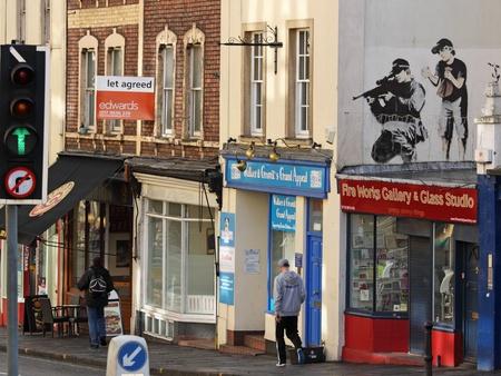 Bristol,UK - February 20, 2011 : Graffiti by  Banksy in the centre of his native Bristol