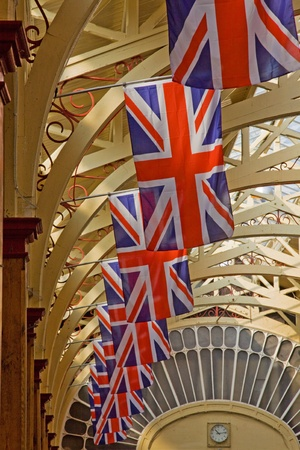 Barnstaple, England - April 18, 2011 - Union Jacks line the market hall in advance of royal wedding celebrations