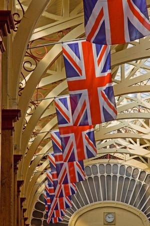 Barnstaple, England - April 18, 2011 - Union Jacks line the market hall in advance of royal wedding celebrations