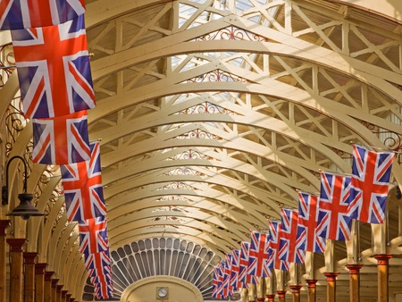 Barnstaple, England - April 18, 2011 - Union Jacks line the market hall in advance of royal wedding celebrations  Stock Photo - 9397067