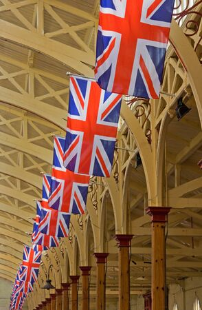 Barnstaple, England - April 18, 2011 - Union Jacks line the Victorian market hall in advance of royal wedding celebrations