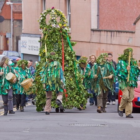 onset: Bristol, ENGLAND - MAY 7, 2011 - The Jack in the Green parade held in the city. The medieval custom celebrating the onset of summer has recently been revived