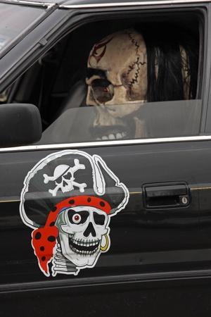 Skeleton crew member at the quayside before boarding pirate ship