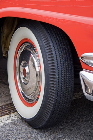 Whitewall tyre on classic American automobile photo